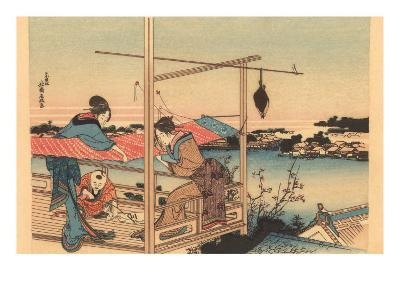 Japanese Woodblock, Fishing--Art Print