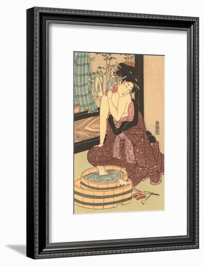 Japanese Woodblock, Lady at Bath--Framed Art Print