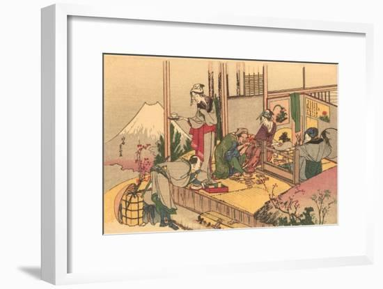 Japanese Woodblock, Tea Ceremony--Framed Art Print