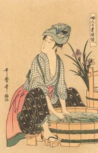 Japanese Woodblock, Washing Clothes