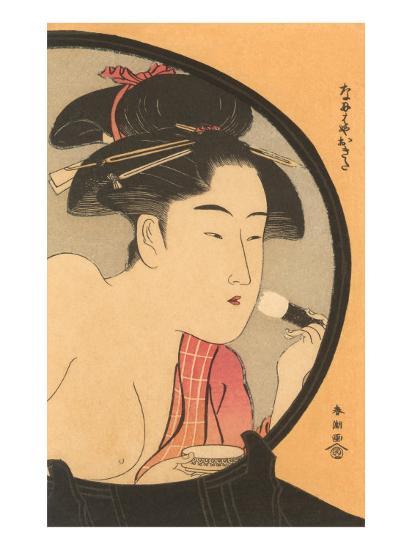 Japanese Woodblock, Woman at Toilette--Art Print