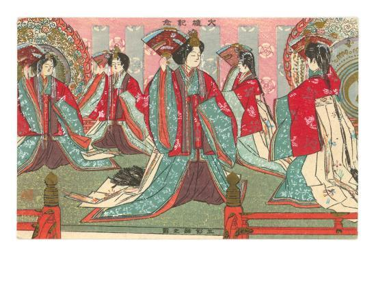 Japanese Woodblock, Women with Fans--Art Print