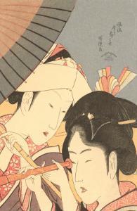 Japanese Woodblock, Women with Spyglass
