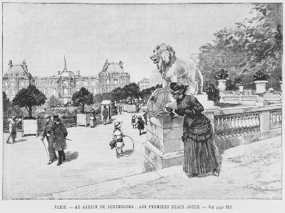 Jardin of Luxembourg, the First Fine Days, C.1870-80-French School-Giclee Print