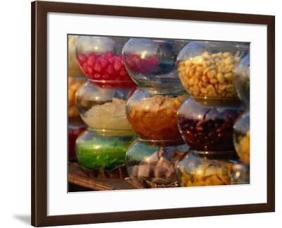 Jars of Fruit for Sale at Street Market Bangkok, Thailand-John Hay-Framed Photographic Print