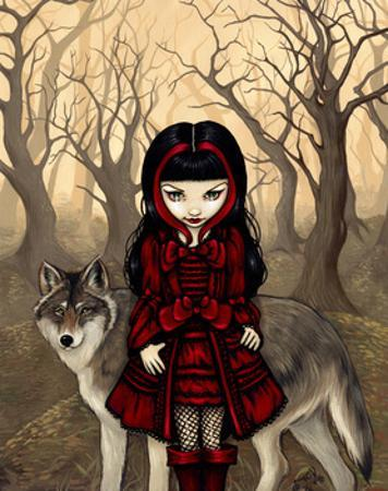Little Red Riding Hood in Autumn with the Wolf
