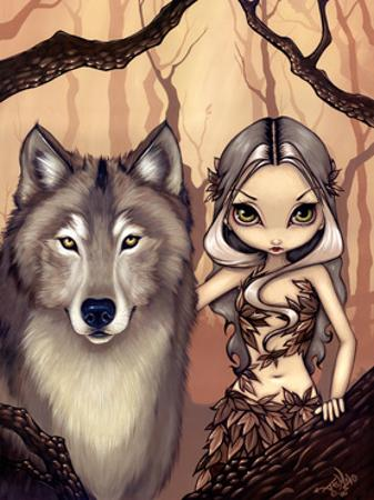 Wolf Art:  A Wolfish Friend by Jasmine Becket-Griffith