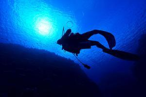A Scuba Diver Exhales Bubble Rings as He Floats Towards the Surface by Jason Edwards