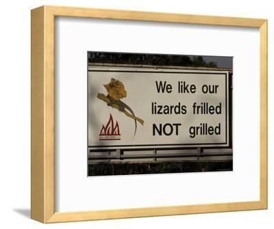 Bush Fire Conservation Road Sign Protects the Frilled Lizards Habitat, Australia