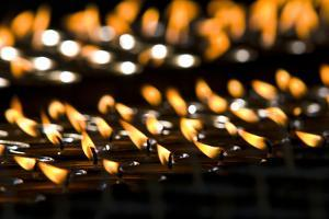 Flames Burn in Rows of Butter Lamps for Prayers and Aspirations at the Thimphu Memorial Chorten by Jason Edwards
