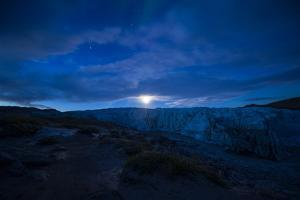 Moonrise over the Icy Fracture Zone of Russell Glacier by Jason Edwards