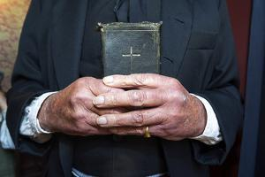 Visitor to a Gold Town Museum Dresses as a Pastor to Have a Souvenir Period Drama Photograph Taken by Jason Edwards