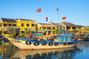 Boats on the Thu Bon River in front of Hoi An Ancient Town, Hoi An, Quang Nam Province, Vietnam by Jason Langley