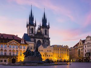 Czech Republic, Prague, Stare Mesto (Old Town). Tyn Cathedral on Staromestske namesti, Old Town Squ by Jason Langley