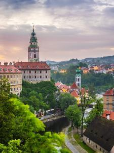 Czech Republic, South Bohemian Region, Cesky Krumlov. Cesky Krumlov Castle and buildings in old tow by Jason Langley