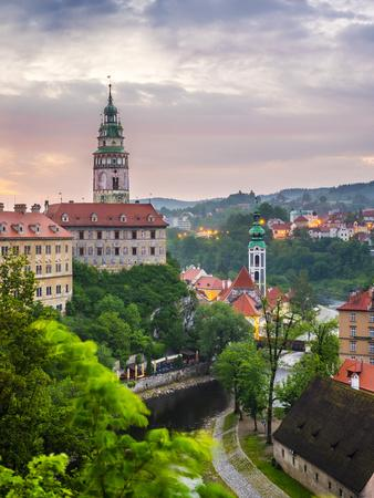 Czech Republic, South Bohemian Region, Cesky Krumlov. Cesky Krumlov Castle and buildings in old tow