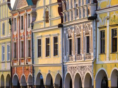Czech Republic, Vysocina Region, Telc. Facades of Renaissance and Baroque houses on Namesti Zachari