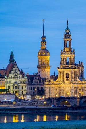 Dresden skyline, historic buildings along the Elbe River at night, Altstadt (Old Town), Dresden, Sa by Jason Langley