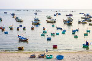 Fishing boats in harbor at Mui Ne, Phan Thiet, Binh Thuan Province, Vietnam by Jason Langley