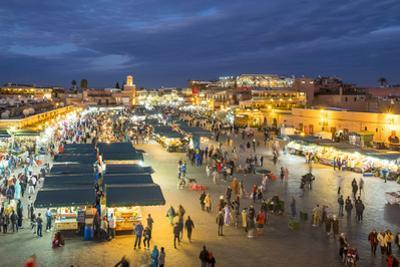 Jamaa El-Fna square at dusk, Marrakesh, Morocco, North Africa, Africa by Jason Langley