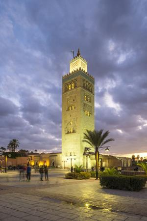 Minaret of the 12th century Koutoubia Mosque at dusk, UNESCO World Heritage Site, Marrakesh, Morocc by Jason Langley