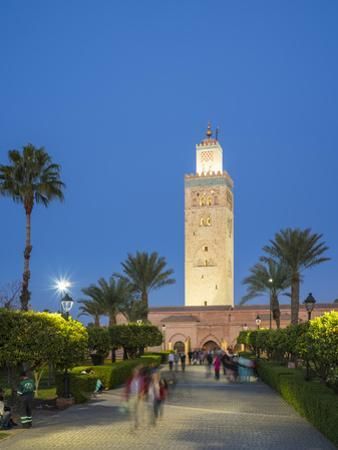 Minaret of the 12th century Koutoubia Mosque, UNESCO World Heritage Site, and Parc Lalla Hasna at d by Jason Langley