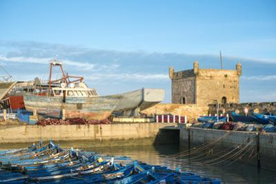 Skala du Port, 18th-century seafront ramparts and boats in the fishing port, Essaouira, Marrakesh-S by Jason Langley