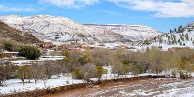 Small village in the Atlas Mountains after winter snow, Ouarzazate Province, Souss-Massa-Draa, Moro by Jason Langley