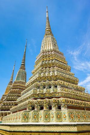 Stupas at Wat Pho (Temple of the Reclining Buddha), Bangkok, Thailand, Southeast Asia, Asia by Jason Langley