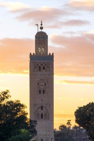 The 12th century minaret of Koutoubia Mosque at sunset, UNESCO World Heritage Site, from Jamaa El-F by Jason Langley