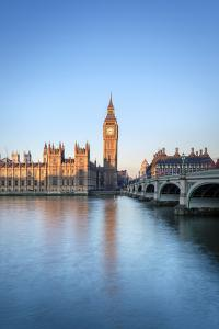 United Kingdom, England, London. Westminster Bridge, Palace of Westminster and the clock tower of B by Jason Langley