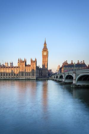 United Kingdom, England, London. Westminster Bridge, Palace of Westminster and the clock tower of B