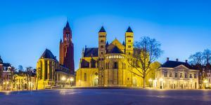 Vrijthof square at dusk, Maastricht, Limburg, Netherlands by Jason Langley