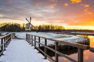 Witte Molen (White Mill) Dutch Windmill in Winter at Sunset, Harn, Groningen by Jason Langley