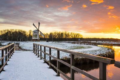 Witte Molen (White Mill) Dutch Windmill in Winter at Sunset, Harn, Groningen by Jason Langley