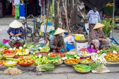 Women Selling Vegetables at the Central Market in Hoi An, Quang Nam Province, Vietnam, Indochina by Jason Langley