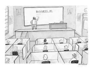 A business class in which all students are at cubicles instead of desks. - New Yorker Cartoon by Jason Patterson