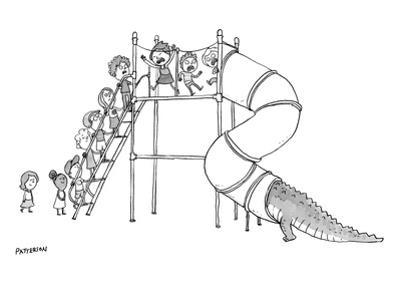 A group of children are lined up to go on a playground slide, but at the t… - New Yorker Cartoon by Jason Patterson