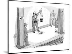A magician in the subway station pulls a rat out of his hat instead of a r? - New Yorker Cartoon by Jason Patterson