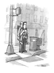 A man carries his grandfather and child in a baby backpack. - New Yorker Cartoon by Jason Patterson