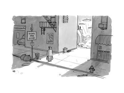 "A man passing an alley with a sign pointing to ""scenic area"" with a valley... - New Yorker Cartoon"