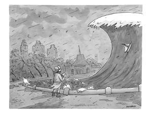 A man playing with a remote-controlled boat watches as a tsunami approches - New Yorker Cartoon by Jason Patterson