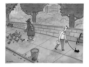A man walking his dog sees a mysterious figure with bird feet feeding pige? - New Yorker Cartoon by Jason Patterson