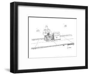 A strong man with a tattoo of an anchor on his biceps sits on a chair next? - New Yorker Cartoon by Jason Patterson