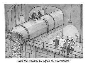 """And this is where we adjust the interest rate."" - New Yorker Cartoon by Jason Patterson"