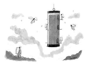 Angels fly around a bird-feeder. - New Yorker Cartoon by Jason Patterson