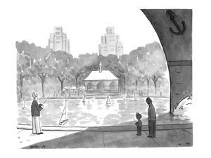 Bow of large ship casts a shadow over people sailing toy sailboats in Cent? - New Yorker Cartoon by Jason Patterson