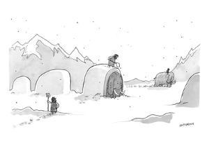 Cavemen shoveling out their woolly mammoths, in the same way that modern d? - New Yorker Cartoon by Jason Patterson