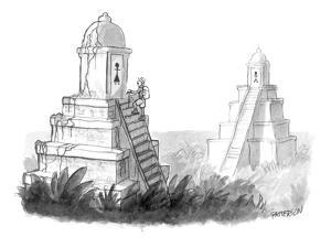 Explorer discovers gender labeled ancient pyramid restrooms. - New Yorker Cartoon by Jason Patterson