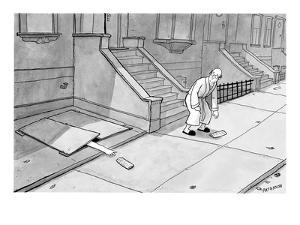 Hand comes out of basement to get morning paper. - New Yorker Cartoon by Jason Patterson